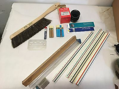 Lot of Vintage Drafting Drawing Tools & Supplies  lot #1 Drafter's Dream
