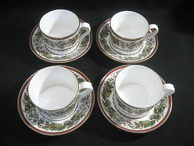 SPODE England Fine Bone China  CHRISTMAS ROSE Y8560  4- FLAT CUP & SAUCER SETS