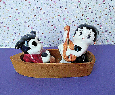 Betty Boop and Bimbo Dog Salt and Pepper Shakers Wooden Boat Ceramic
