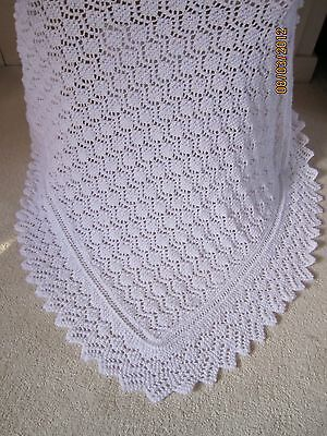 Gorgeous Hand Knitted Baby Shawl Brand New - Pure white 4 ply