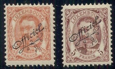 LUXEMBOURG #O97-8  2 ½fr & 5fr high values in set Scott $120.00