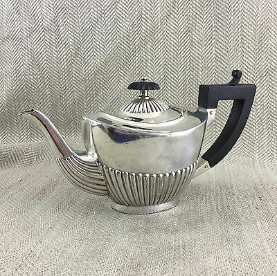 Small Antique Teapot Breakfast Bachelor Pot Silver Plated Half Ribbed  Edwardian