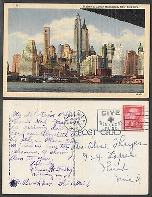 1956 Postcard - New York City - Lower Manhattan Skyline