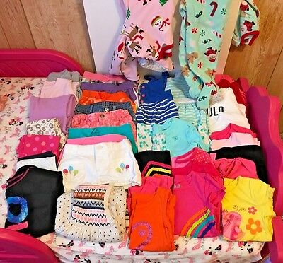 Huge Lot Of Toddler Girls Clothing 36 Pieces Total Shorts Pants Tops Dresses Euc
