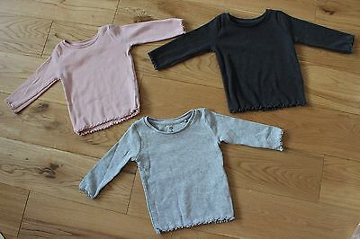 Set of 3 NEXT Casual Girls Jumpers Grey/Pink/Charcoal Size 3-6 Months