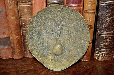 Antique French Bronze Trinket Decorative Jewelry Dish Tray Peacock Design