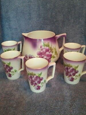 Dresden China Pitcher and 5 Matching Mugs Grape Design