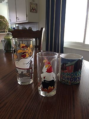 Lot of 2 FOGHORN LEGHORN Glasses and 1 Mug (Can be Separated)