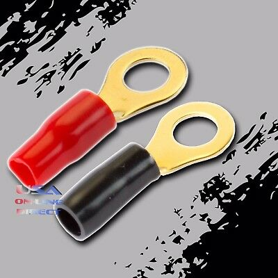 "8 Gauge Ring Terminals 20 Pack AWG Wire Crimp RED BLACK Boots 5/16"" Hole Contact"