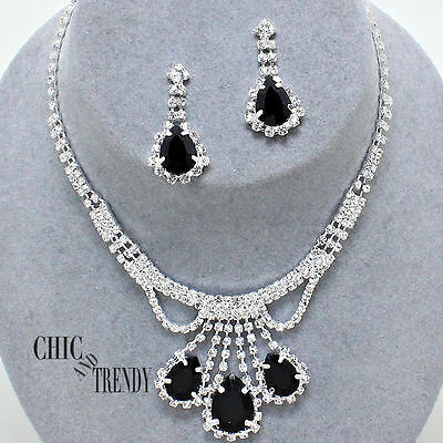 Clearance Black Crystal Prom Wedding Formal Necklace Jewelry Set Chic Trendy
