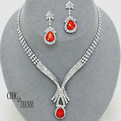 Clearance Red & Clear Rhinestone Crystal Wedding Formal Jewelry Set