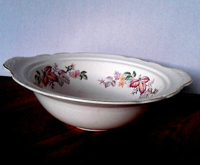 """Rideau Pottery Canada Autumn Leaf Etched Handled 10 1/4"""" Vegetable Bowl"""