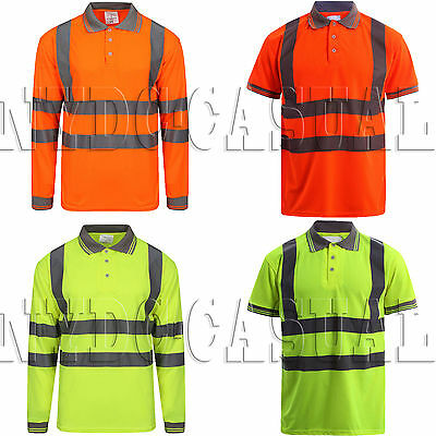 Hi Viz Vis Polo T-Shirt High Visibility Work Tee Reflective Tape Safety Top