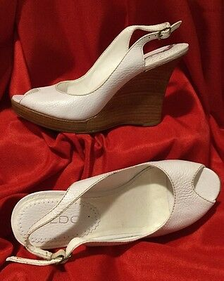 "ALDO  Shoes ... 4""  Wedge  Open  Toe  Heels ... White  Leather ... Size 6"