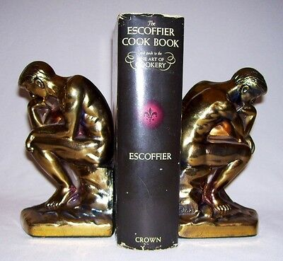 """SCC~ Beautiful Pair Bronze-Toned Cast Metal RODIN'S """"THE THINKER"""" BOOKENDS ©1928"""