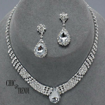 Clearance Clear Rhinestone Crystal Wedding Formal Necklace Jewelry Set Chic