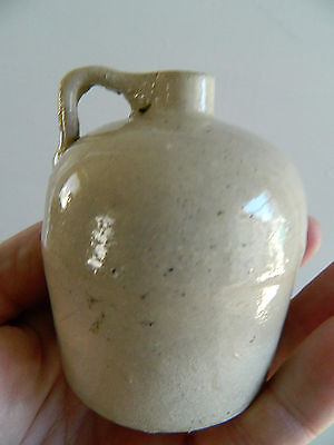 Very old Creme color Applied handle stoneware MINI JUG Whiskey sample