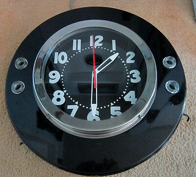 LARGE VINTAGE NEON TUBE COMMERCIAL ADVERTISING CLOCK - Synchron Motor USA