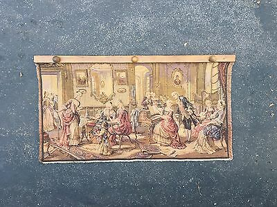"""20"""" x 37"""" Victorian Piano PARLOR SCENE TAPESTRY Vintage"""