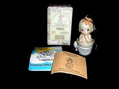 Precious Moments Baby's First Christmas 1997 Ornament Baby Girl In Flower Pot