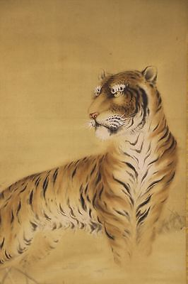 """JAPANESE HANGING SCROLL ART Painting """"Tiger"""" Asian antique  #E6527"""