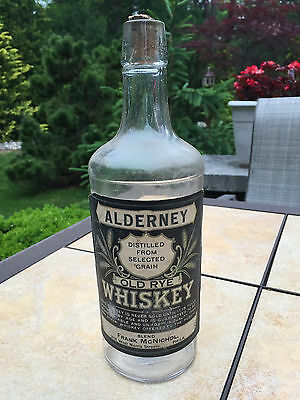 Pre Prohibition Alderney 3-Seam Whiskey Bottle Full Label w/ Partial Cork, Phila