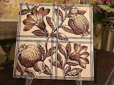 English Tile Transferware Victorian Art Nouveau Floral