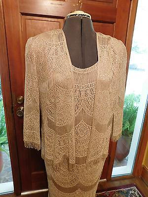 Gorgeous Gold Woven Lace Mother Of The Bride Or Groom Formal Dress Size M