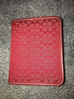 Authentic COACH Red Signature Bifold ID Credit Card Holder Case