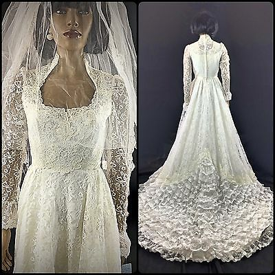 Vtg 1970s Wedding Gown w/ Tiers Ruffles Cathedral Train Lace W/ Sleeves