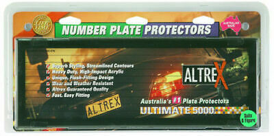 QLD NSW VIC Altrex Number Plate Covers - Standard Black Pin Lined Pair 'U' Clips