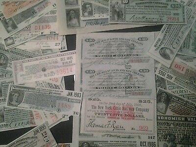 Railroad and utility bond interest notes coupons 101+ and free gift