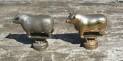 Heavy Vintage USA Usadel Prize Trophy Top Bull Cow Gold & Silver Farm Cattle