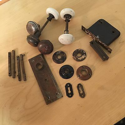 Vintage Door Knobs And Lock Set And Misc Extra Parts