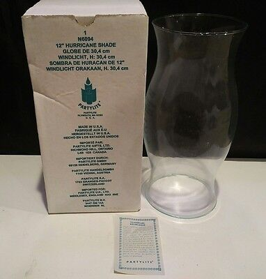 "Partylite 12"" Clear Glass HURRICANE Candle SHADE GLOBE N6094 ~ NEW in Box ~"