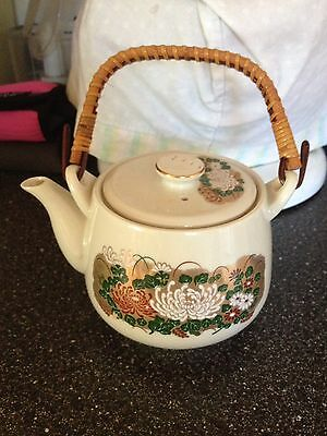 Vintage Japanese Flower Teapot Pottery with Lid and Wood Handle Very Rare Unique