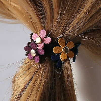 Flower Elastic Hair Band Rope Ring Ponytail Holder Floral Hair Accessories Women