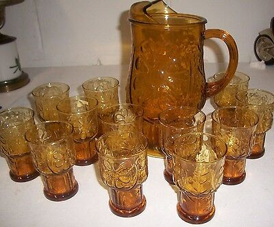 Vintage Libbey Amber Country Garden Daisy Flower Tumbler 12 Glasses & pitcher