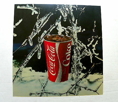 """1970' """"enjoy Coca-Cola"""" Cup W/ice Covered Bush Transparent Plastic Channel Sign"""