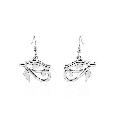 1pair Antique Silver Egyptian Eye of Horus Ra Charms Earrings Women's Jewelry