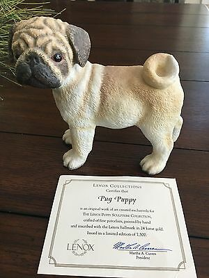 Limited Edition Lenox Porcelain Pug Dog Figurine Excellent With Papers