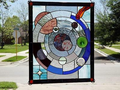 """°UNIVERSE°Stained Glass Window Panel • 27""""-22 ½"""" (68.5-57CM)"""