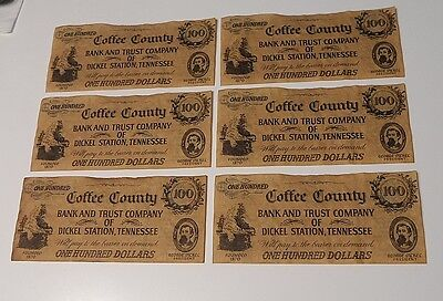 George Dickel Tennessee Whiskey Advertising Bank Notes Lot of 6