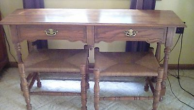Vintage Tell City Sofa Table with Benches
