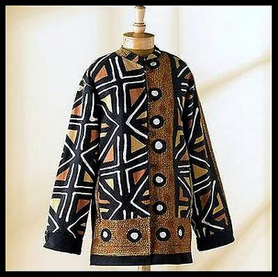 NEW! Reversible XL African Mud Cloth Design Print Jacket Smithsonian Institute