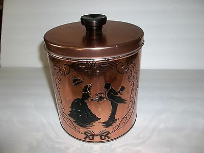 Exquisite Vintage Copper Aluminum Cookie Jar/ Canister Embossed Victorian Image