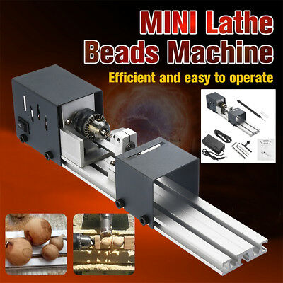 Mini DIY Wood Lathe Beads Polishing Machine Table Saw Drill Cutting Full Kit US