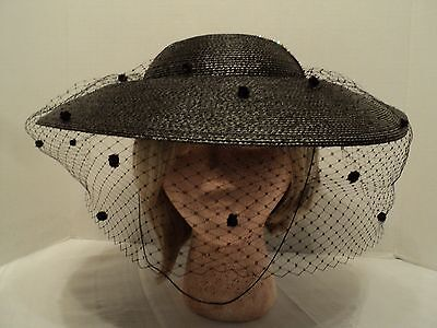 Great, Gorgeous, 1940's, Vintage, Wide Brim Hat w/Perfect Netting