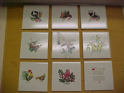 Set of 9-H R Johnson 4 x 4 Ceramic tiles.never used.Beautiful