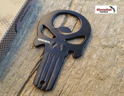 NEW BLACK PUNISHER SKULL Beer Bottle Opener w/ Pouch EDC EVERYDAY CARRY Camping